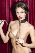 Theatre by Toyfa 703002 black leather collar with leash metal chain bdsm Valentine day