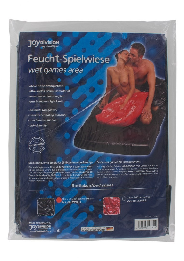 Wet games area, bed sheet,180 x 260 cm, black